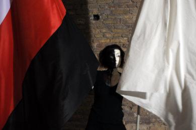 Postać artystki trzymającej dwie flagi, po lewej stronie biało-czerwono-czarna flaga; po prawej stronie biała flaga.